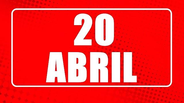 20 de Abril- O dia de hoje na história: fatos e acontecimentos em Elesbão Veloso.