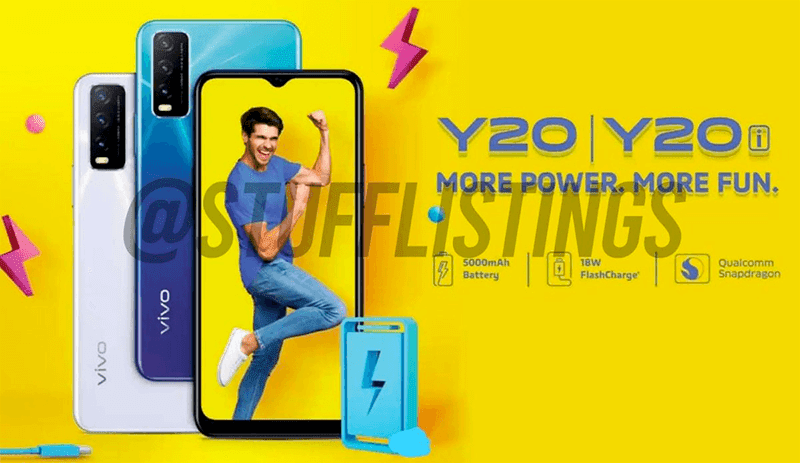 Alleged vivo Y20, Y20i with 5,000mAh battery key specs and renders leak!