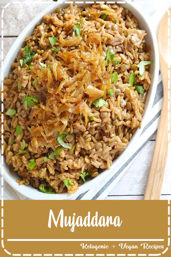 an earthy rice and lentil pilaf with aromatic spices and caramelized onions  Mujaddara