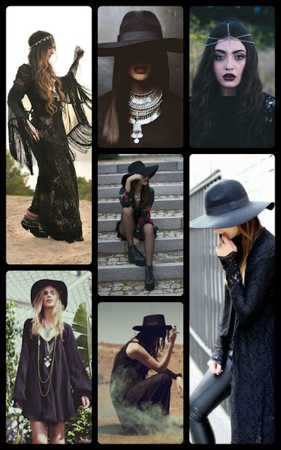 Gothic Bohemian Style Inspiration, goth fashion, boho goth, Halloween fashion