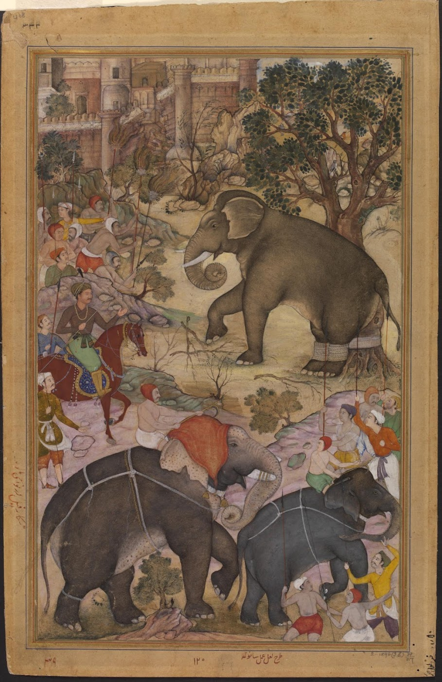 Mughal emperor Akbar on horseback, inspecting a wild elephant captured from a herd during a royal hunting expedition near Malwa in north central India - Mughal Painting, Circa 1586-1589
