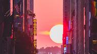 New York City street sunset Mobile Wallpaper