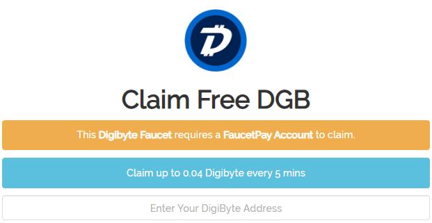 Cara mendapatkan faucet Digibyte (DGB) gratis setiap 5 menit