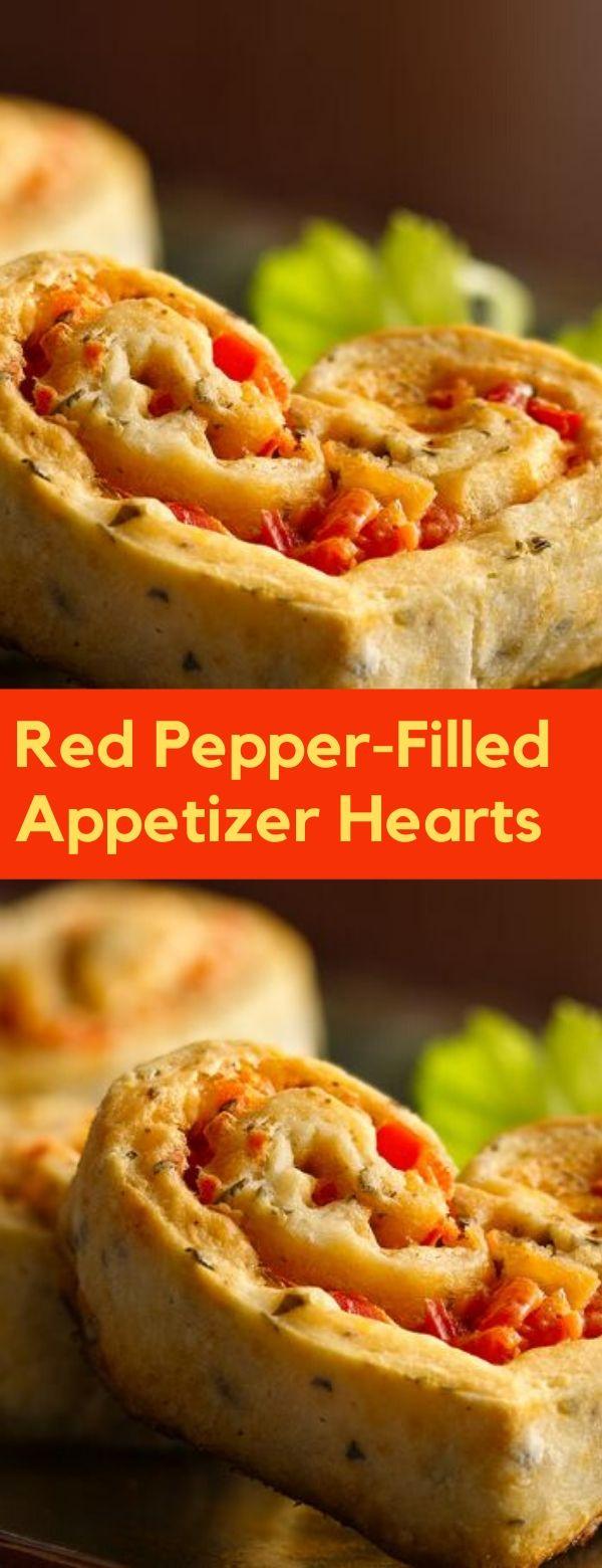 Red Pepper-Filled Appetizer Hearts #heart #valentine #dessert