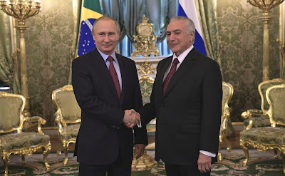 Vladimir Putin and Michel Temer in Moscow.
