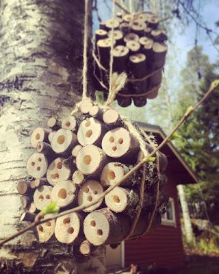 oksista tehty hyönteishotelli roikkuu puusta