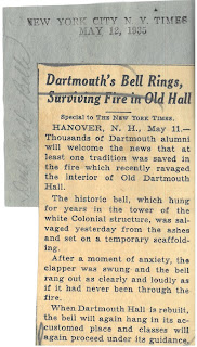 1935 New York Times article titled 'Dartmouth's Bell Rings, Surviving Fire in Old Hall""