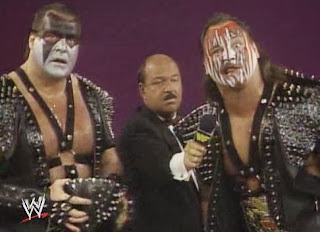 WWF / WWE: Wrestlemania 5 - Demolition talk about their upcoming tag team title match against The Warlord, The Barbarian and Mr. Fuji