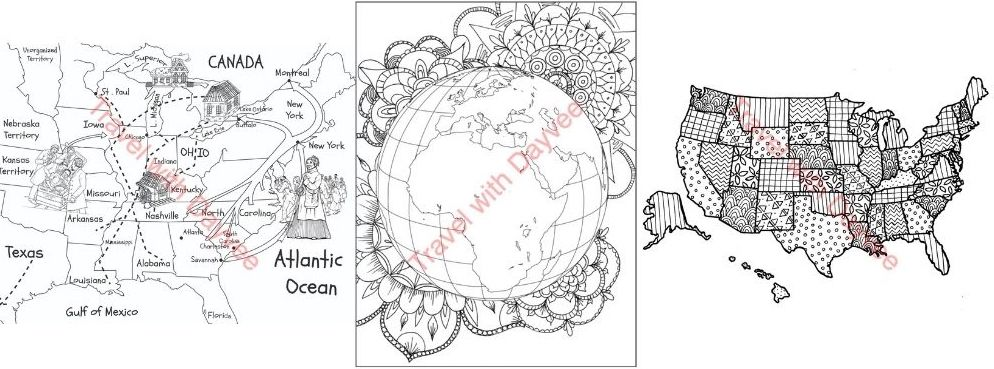 Maps of the World coloring book sample pages