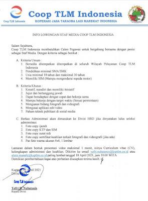 Lowongan Kerja Coop TLM Indonesia Sebagai Staf Media
