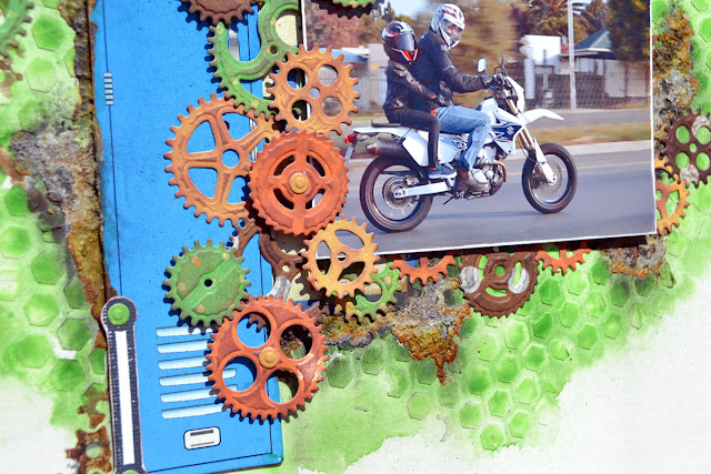 Mixed Media Layout by Denise van Deventer using the BoBunny Game On Collection and Pentart Rust Products