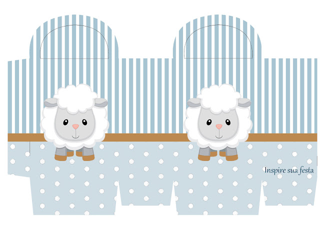 Baby Lamb in Light Blue Free Printable Box.