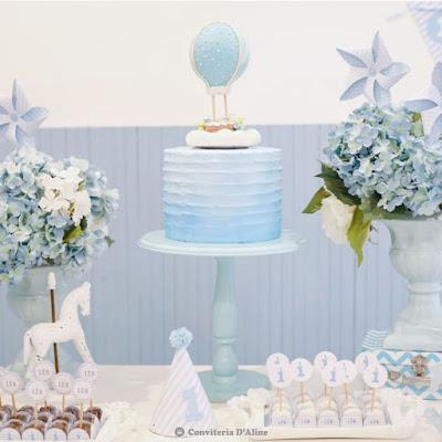 festa aniversario menino sem tema azul branco