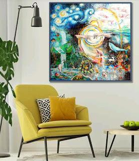 interior design, Genesi, la Creazione del mondo. Annapia Sogliani pittrice illustratrice, Genèse, la Création du monde, Annapia Sogliani Artiste peintre illustratrice décor intérieur
