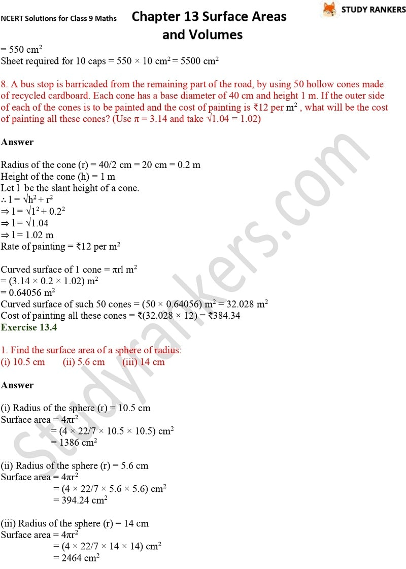 NCERT Solutions for Class 9 Maths Chapter 13 Surface Areas and Volumes Part 11