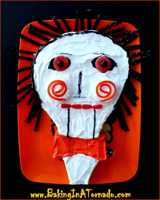 Billy the Puppet Cake, a Halloween treat | http://www.bakinginatornado.com/2015/10/blog-with-friends-scary-stuff.html | #recipe #Halloween