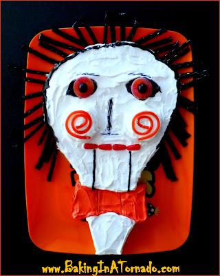 Billy the Puppet Cake, a Halloween treat | http://www.bakinginatornado.com/2015/10/blog-with-friends-scary-stuff.html | #recipe #Halloween