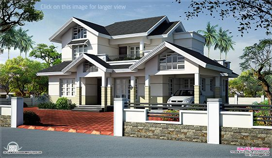 Sloped roof house