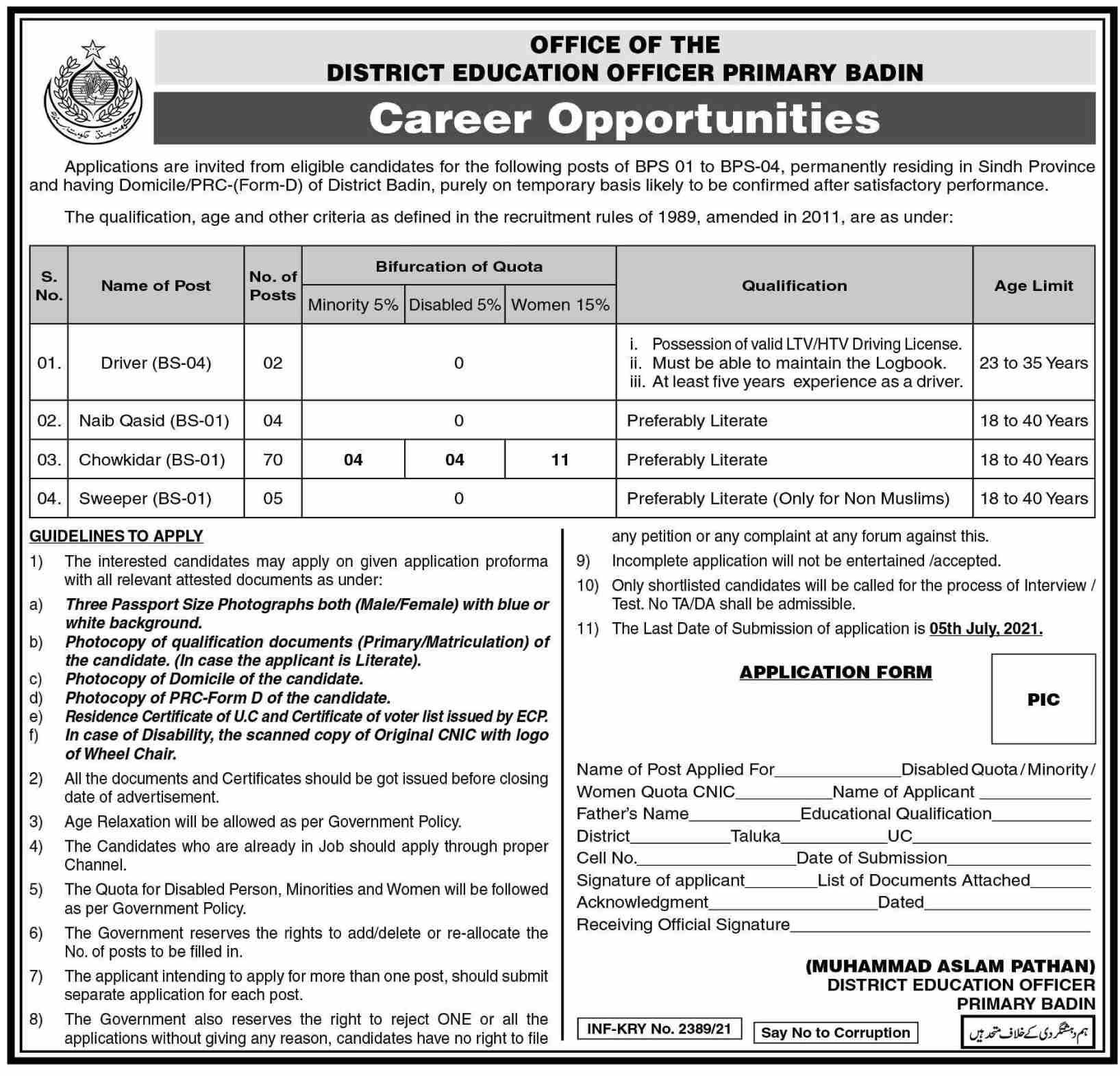 Education Department Sindh District Badin Jobs 2021 in Pakistan