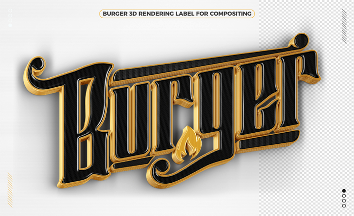 Burger Word Black Gold 3D Rendering Isolated