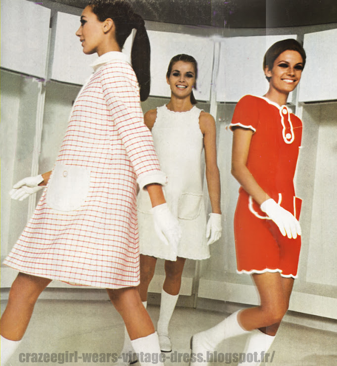 Andre Courreges dress - 1967 60s 1960 red white check