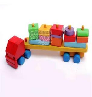Mainan Kayu Balok Kontainer
