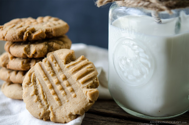 Homemade peanut butter cookies and milk