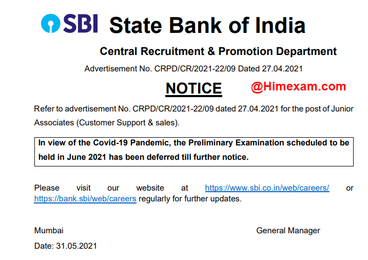 SBI Clerk Prelims Exam Postponed 2021