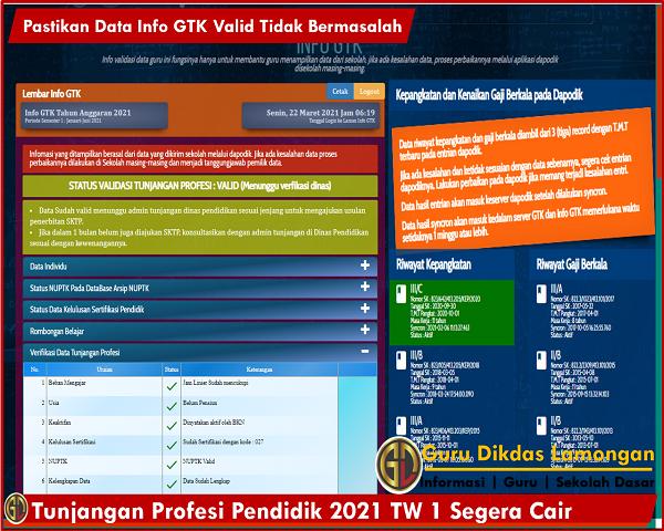 Tunjangan Profesi Pendidik 2021 TW 1 Segera Cair, Pastikan Data Info GTK Valid Tidak Bermasalah