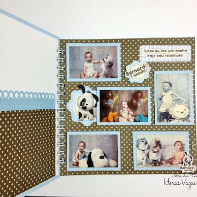 livro de mensagens caderno de assinatura álbum de recordações memórias personalizado chá de bebê aniversário infantil 1 aninho cachorrinhos cachorrinho azul claro marrom menino scrap scrapbook scrapbooking scrapfesta festa delicada