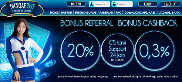 Bonus BANDAR757 Agen Sakong Judi BandarQ Domino99 Bandar Poker Online Terpercaya