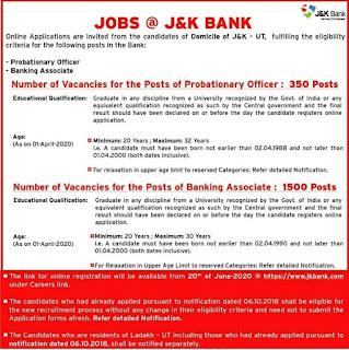 Jk bank recruitment 2020