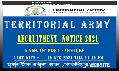 Territorial Army Recruitment 2021 for Officer Vacancy