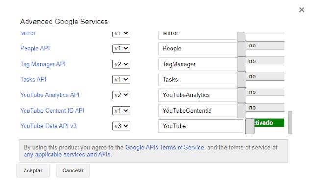 Activar YouTube API