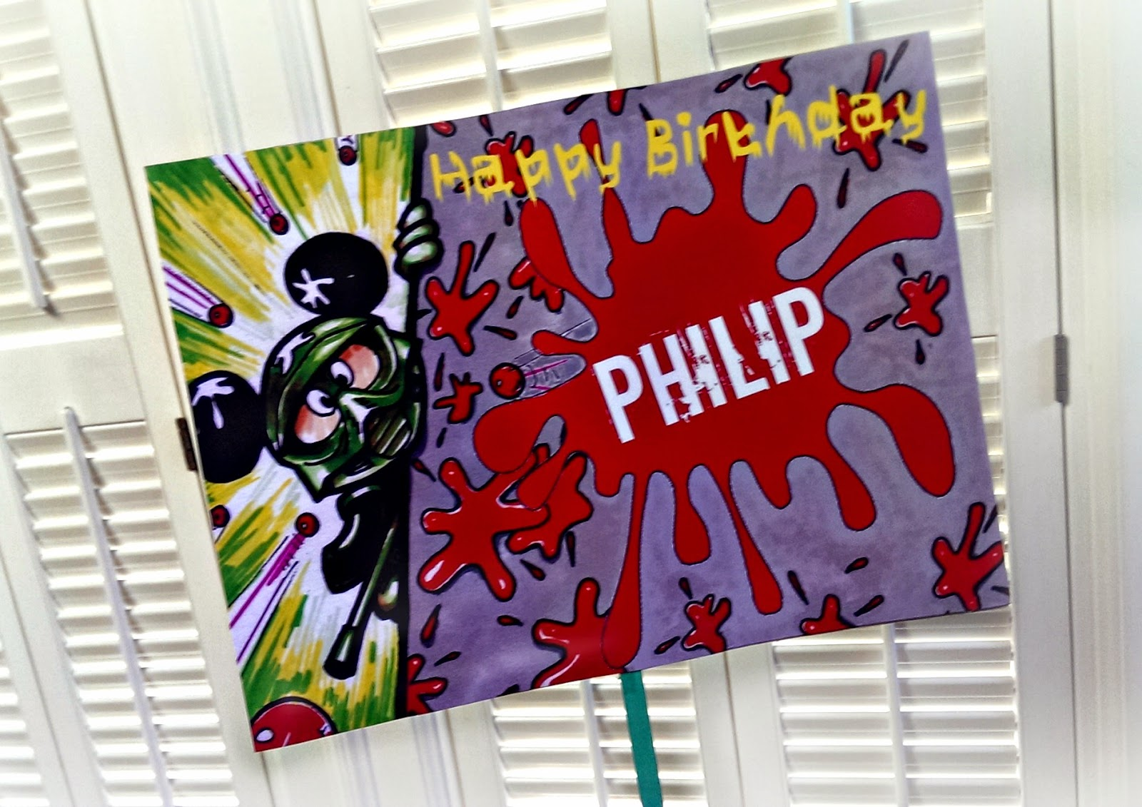 Mickey Paintball party birthday sign