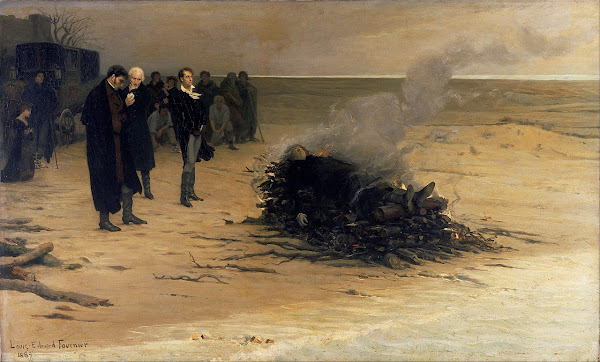 The Funeral of Shelley by Louis Éduard Fournier, Macabre Art, Macabre Paintings, Horror Paintings, Freak Art, Freak Paintings, Horror Picture, Terror Pictures