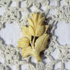 antique Scottish thistle bone brooch