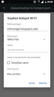 Mengisi nama jaringan dan kata sandi