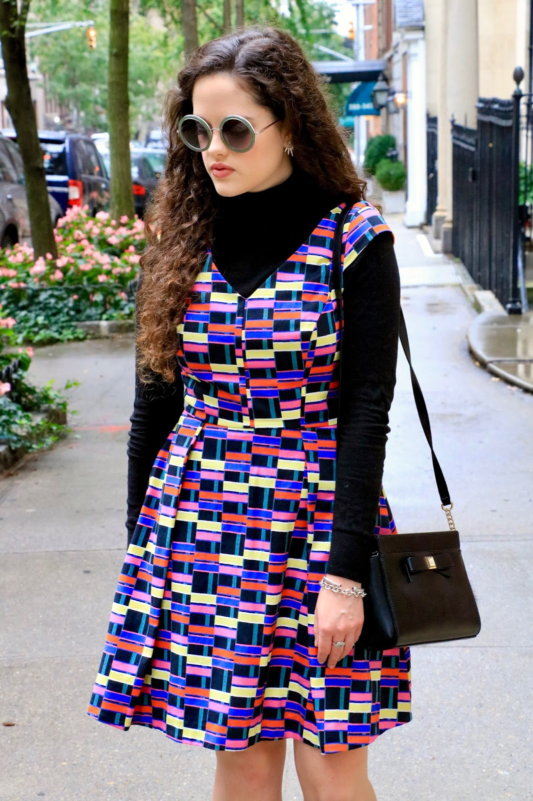 turtleneck layered under dress