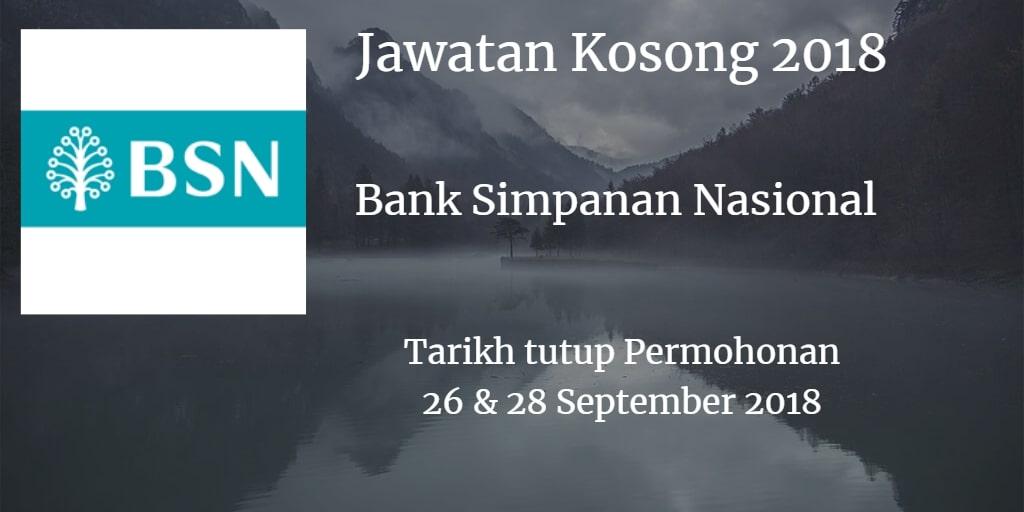 Jawatan Kosong BSN 26 & 28 September 2018