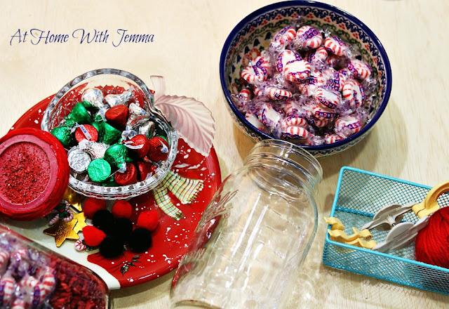 pompom, maker, hotglue, yarn, peppermint, candy, chocolate, kisses,
