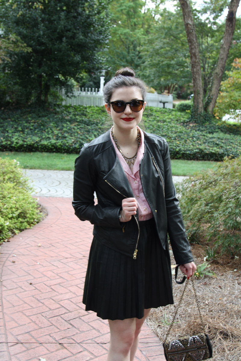 2017, fall, OOTD, J.Crew, Anthropologie, jewelry, work wear, leather, over the knee boots, Anthropologie,