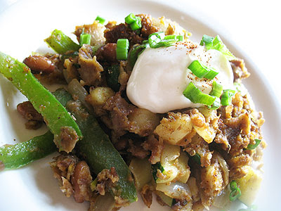Potato, Pepper and Zucchini Skillet Hash with Pinto Beans