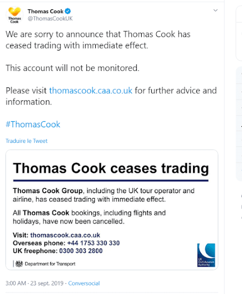 Thomas Cook Goes Bankrupt, 600,000 Tourists Must Be Repatriated