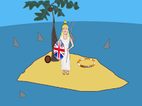 Britannia stranded alone on a desert island cartoon by Wendy Cockcroft