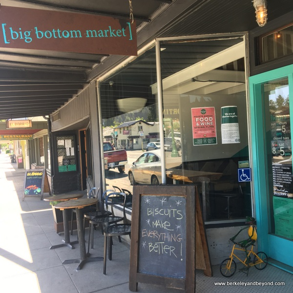 exterior of Big Bottom Market  in Guerneville, California