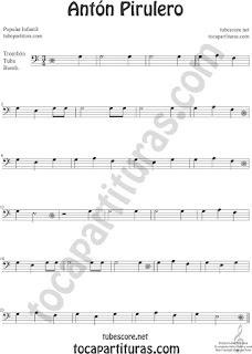 Trombón, Tuba Elicón y Bombardino Partitura de Antón Pirulero Sheet Music for Trombone, Tube, Euphonium Music Scores (tuba en 8ª baja)