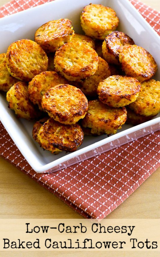 Low-Carb Cheesy Baked Cauliflower Tots found on KalynsKitchen.com