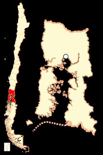 Mapa de localização da Região dos Lagos - Chile