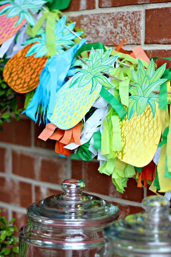 pineapple party banner, outdoor entertaining, tassel garland